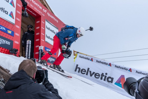 Bruno Kerner with Freedom360 at start of the Lauberhorn run
